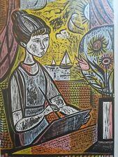 Vintage MCM Mid Century IRVING AMEN Signed Artists Proof Woodcut ART STUDENT