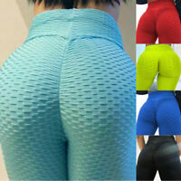 Women High Waist Yoga Pants Ruched Push Up Gym Sports Fitness Leggings Trousers
