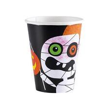 Tazas De Papel Fiesta De Halloween 266ml 8pk-Calabaza Espeluznante Araña Murciélago
