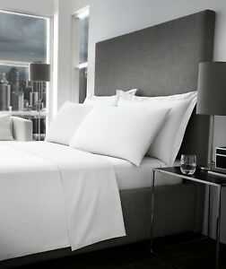 100% Egyptian Cotton Deep Fitted Sheet 300 TC Bed Sheet Elastic corners white