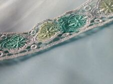 1 Yard Lime/Mint White Color Embroidered Lace Trim Dress Sew or Glue-on