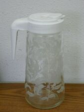 Vintage Anchor Hocking 1 Qt. TANG Juice PITCHER White Lily Etched Floral Design
