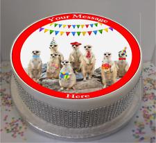 """Novelty Personalised Meerkat Party 7.5"""" Edible Icing Cake Topper Meerkats,"""