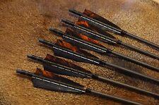 6 Holzpfeile Naturfedern Shield schwarz/camo orange 11/32 Pfeil für Langbogen