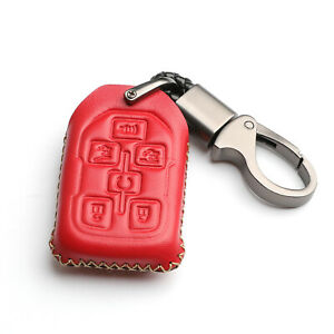 Red Leather For GMC Yukon XL Chevrolet Tahoe 6 Buttons Key Fob Cover Case