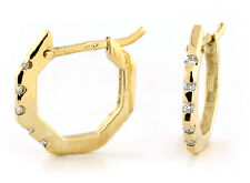 18k Yellow Gold Octagon Shape Small Huggie Earrings Diamonds