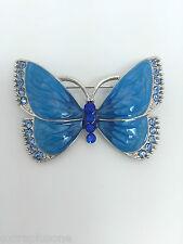 Esmalte Mariposa Azul Strass Plateado Diamante Cristal Broche de aleación