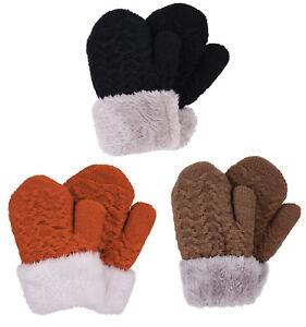 3 Pairs Kids Gloves Set Winter Warm Children Casual Fur Cuff Stretch Mittens