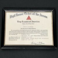 Vintage 1978 BSA Boy Scout Vigil Honor Order of the Arrow Certificate SF CA