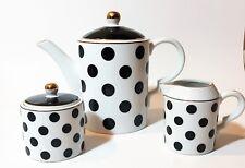 Nuovo Grace 3 Pz Set Bianco + a Pois Nero Caffè, Teiera, Latte Liofilizzato,