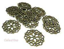 10 Antique Bronze Filigree Connectors - Flower Strong Cabochons 29mm LF NF Round