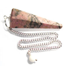 RHODONITE Point Healing Dowsing Pendulum Crystal Calms Stress and Anxiety