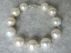 Silver Plated Large Freshwater Pearl Bracelet