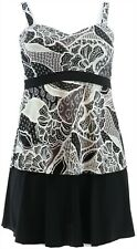 Denim& Co Beach Sweetheart Tankini Skirt Black paisley 14 # A350356