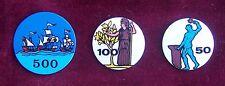 40 PZ-VECCHIE FICHES ANNI '60-LIRE 50 100 500-ALLUMINIO-CARAVELLE 500-OLD FICHES