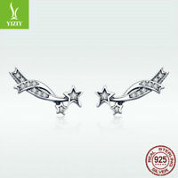 Women 925 Sterling Silver Ear Stud Earrings Sparkling Meteor Climber CZ Jewelry