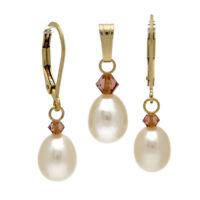 ⛶ KRISTALL SAPHIRROSA ● Zucht Perlen Ohrringe weiß + Anhänger ygf 14k Gold 585