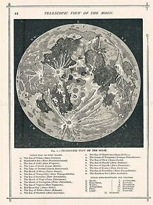 GEOGRAPHY MAP ILLUSTRATED ANTIQUE TELESCOPIC MOON LARGE POSTER ART PRINT BB4497A