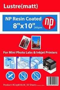 8x10 Matt / Lustre Premium 50 Sheets Photo Paper 260gsm