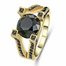 Vintage Round Cut Black Sapphire Ring Yellow Gold Filled Jewelry Size 6