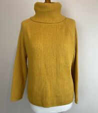 Mustard Roll Neck Jumper Knit Cosy Winter Autumn Yellow Warm Top Size 12