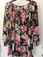 Premise Women's size 3x Black Floral Popover Top Blouse Shirt  NWT