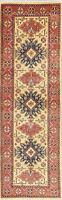 "8 ft IVORY Oriental Rug Runner Kazak Geometric Pakistan Wool Carpet 8' 4"" x 2' 7"