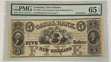 1840's Louisiana, New Orleans Canal $5 Five Dollar Remainder Note PMG 65 GU EPQ
