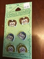 New listing Lot Of 6 Trena's Trinkets Ceramic Buttons Girl Faces Flat New Sewing