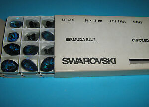 SWAROVSKI ® -Goccia 48 Pz 4320-20x15 mm. Bermuda Blue Original Unfoiled