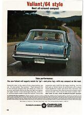 1964 PLYMOUTH Valiant Medium Blue 2-door Coupe rear view VTG PRINT AD