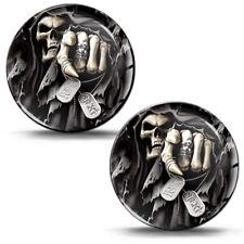 2 X 3d Silicone Domed Gel Stickers Decals Skull Punisher Badge Logo Emblem