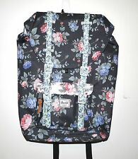 HERSCHEL SUPPLY CO LITTLE AMERICA MID BACKPACK BLACK FLORAL MSRP $100 NEW w/TAG!