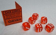 "DICE 12mm CHX TL ORANGE w/WHITE PIPS - SET OF SIX! SMALL SIZE, ORANGE ""CRUSH!"""