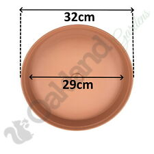 8 x 32cm Plant Pot Saucer Drip Tray Terracotta Plastic Deep High Sided Strong