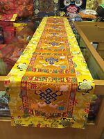 Tibetan Yellow Endless Knot silk brocade Shrine/table/cover/cloth/runner/200 Cm