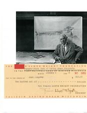 FRANK LLOYD WRIGHT HAND SIGNED CHECK TO HIS SPRING GREEN, WI FARM MANAGER 1953