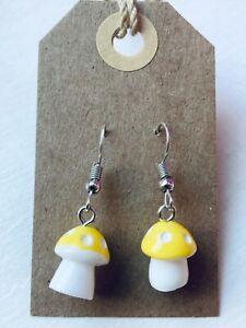 FUNKY YELLOW MUSHROOM Earrings Retro Cute Polkadot Size 1.2 x 1 cms