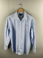 Gazman Men's Long Sleeve Shirt with Front Pocket - Size 2XL - Blue/White Stripe
