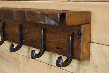 """Reclaimed 27"""" Grain Eroded White Pine Coat Rack / 5 Railroad Spike Hooks & Shelf"""