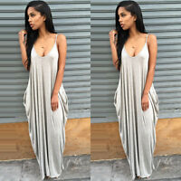 Women Blackless Summer Chiffon Evening Party Beach Long Maxi Dress Size 6-16