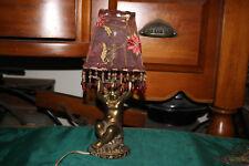 Vintage Angel Cherub Boudoir Night Table Lamp-Hanging Crystal Bead Shade-Gold