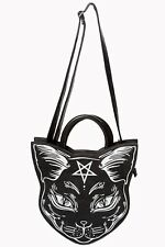 BANNED BLACK NEMESIS PENTAGRAM OCCULT KITTY CAT BAG HANDBAG WITCHCRAFT GOTH NEW