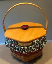 Longaberger 1997 Snowflake Basket Red w/ Lid, Holly Liner & Protector Excellent!