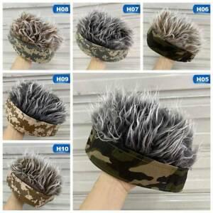 Trendy Men Camouflage Hat Wigs Beanie Cap Toupee Women Sports Fiber Hair tuI$^