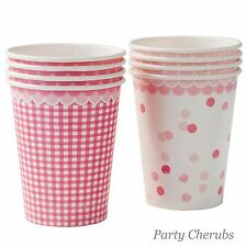 Pink Paper Cups x 8  - Perfect for Girls Birthday / Baby Shower
