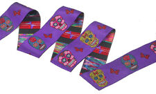 "Jacquard Ribbon 1 1/2"" Sugar Skulls Purple 3 Yards"
