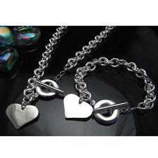 Fashion 925Sterling Silver Smooth Heart Slice Women Chain Necklace Bracelet Set