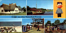 DDR Breitbild-AK Ostseebad PREROW ua. Waldstrasse, Hafen, Strand Mehrbildkarte