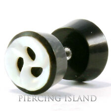 Paar ! Fake Piercing Plug Ohrringe Geschraubt Horn Muschel Handarbeit F102